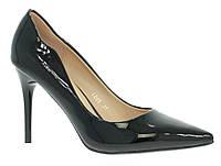 Стильные и удобные женские туфли, лодочки  на шпильке черные лаковые