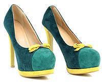 Стильные и удобные женские туфли, лодочки  на шпильке с бантиком
