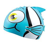 Детская шапочка для плавания BECO голубая рыбка 7394 66