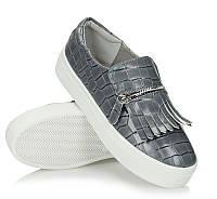 Модная и стильная женская обувь слипоны на танкетке и платформе JAZLYN Grey