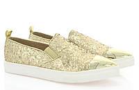 Модная и стильная женская обувь слипоны на танкетке и платформе ADELINE GOLD