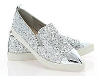 Модная и стильная женская обувь слипоны на танкетке и платформе ADELINE SILVER