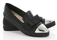 Модная и стильная женская обувь слипоны на танкетке и платформе ALBAN Black