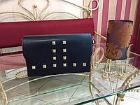 Женская сумка клатч  черная кожаная итальянская