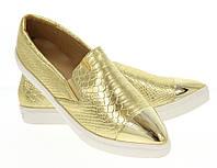 Модная и стильная женская обувь слипоны на танкетке и платформе ANGELICA GOLD