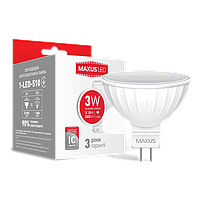 Лампа светодиодная MAXUS (1-LED-510) MR16 3W 4100K 220V GU5.3