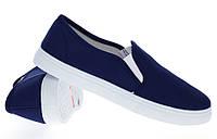 Модная и стильная женская обувь слипоны на танкетке и платформе BUCK white d.blue