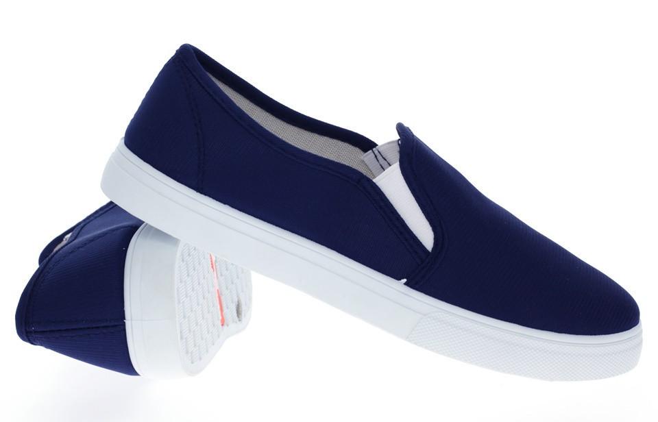 Модная и стильная женская обувь слипоны на танкетке и платформе BUCK white d.blue - Naff.com.ua- товары для всей семьи. в Киеве