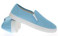 Модная и стильная женская обувь слипоны на танкетке и платформе BUCK blue