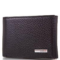 Кожаный карманный мужской кошелек с зажимом для купюр KARYA (КАРИЯ) SHI0931-2FL Черный
