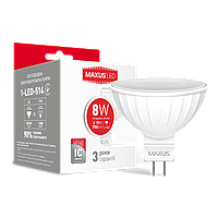 Лампа светодиодная MAXUS (1-LED-514) MR16 8W 4100K 220V GU5.3