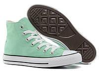 Женские кеды Converse Chuck Taylor All Star (конверс чак тейлор ол стар) высокие светло-зеленые