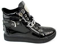 Сникерсы для женщин черного цвета на шнурках