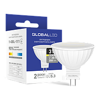 Лампа светодиодная GLOBAL (1-GBL-111) MR16 3W 3000K 220V GU5.3