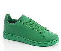 Кроссовки женские на шнурках зеленого цвета