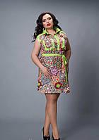 Короткое женское платье салатового цвета