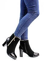 Лаковые женские ботинки с низким ходом