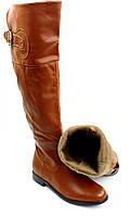 Сапоги женские  до колена на низком каблуке