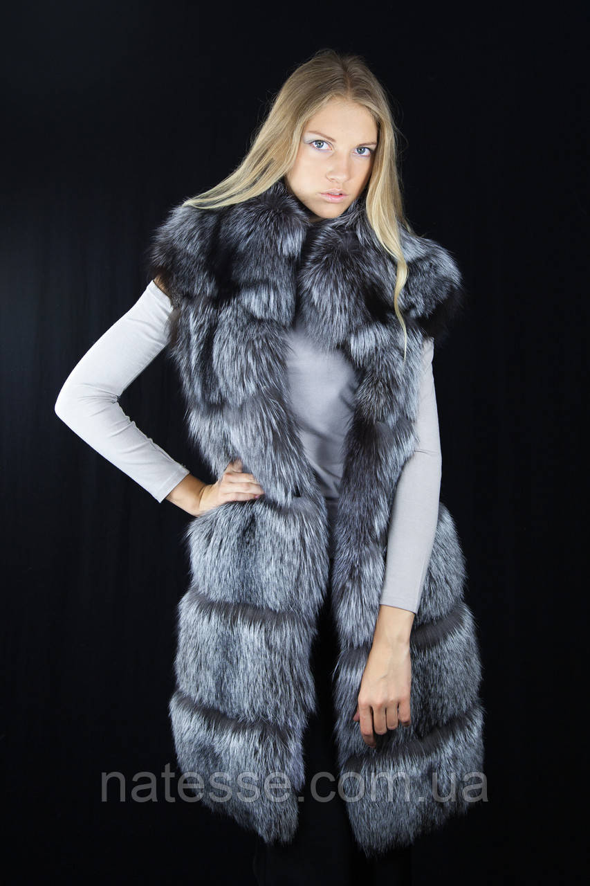 Жилет из чернобурки широкими ярусами Silver fox silverfox  fur vest gilet sleeveless
