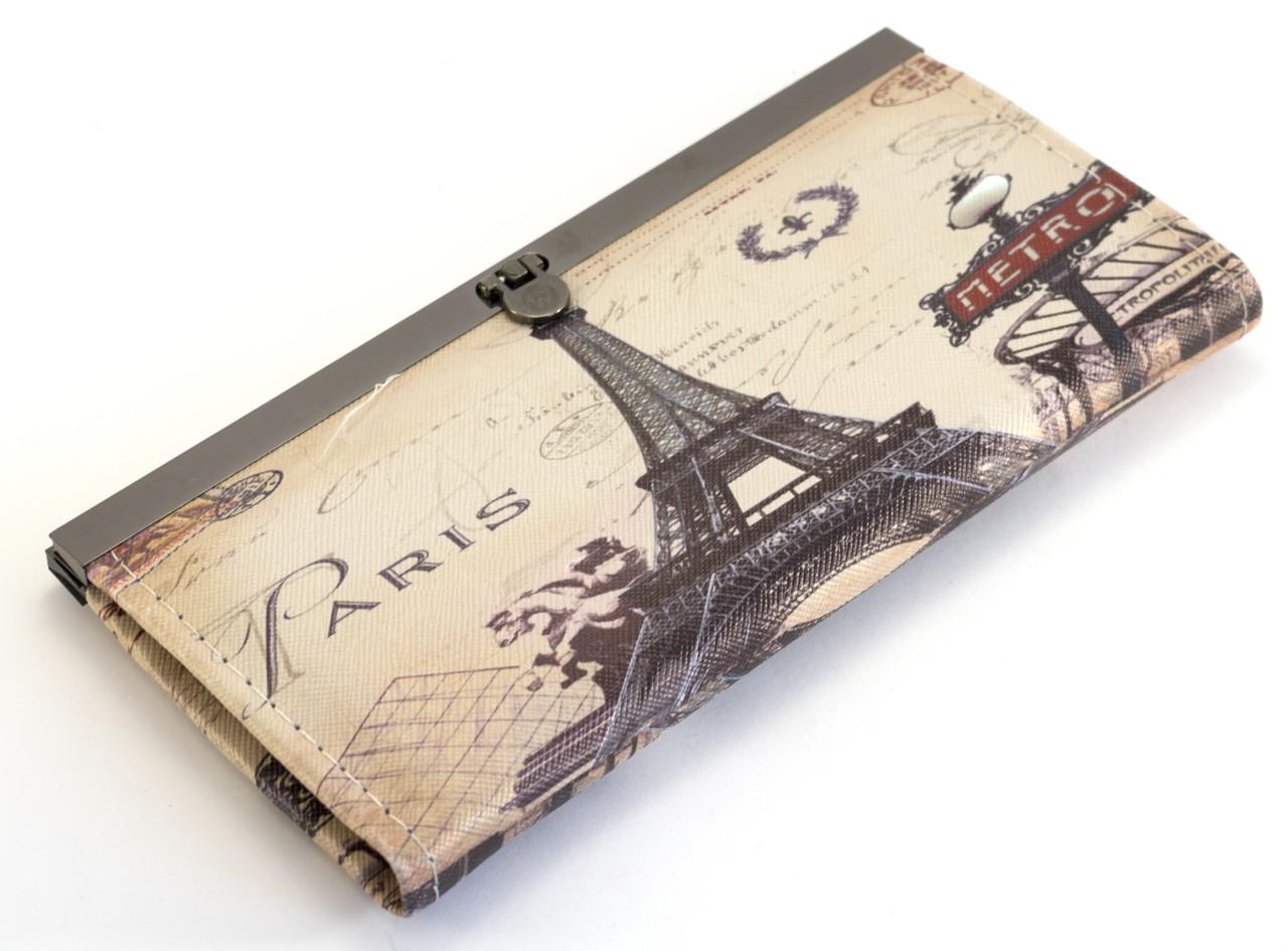 Стильный, удобный женский кошелек с изображением Ейфилевой башни на защелке Lida