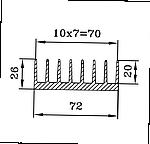 Профиль радиаторный алюминиевый  72х26 / б.п.