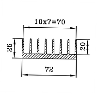 Профиль радиаторный алюминиевый. ПАС-1679 72х26 / б.п.