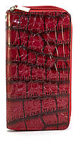 Красный лаковый горизонтальный женский кошелек под крокодиловую кожу на молнии  Б/Н art. 2-01