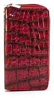 Красный лаковый горизонтальный женский кошелек под крокодиловую кожу на молнии  Б/Н art. 2-01, фото 1