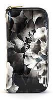 Черно-белый лаковый горизонтальный женский кошелек с цветочным принтом на молнии Б/Н art. 2-01