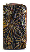 Коричневый лаковый горизонтальный женский кошелек на молнии с изображением цветов Б/Н art. 2-01