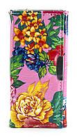 Стильный лаковый вертикальный женский кошелек на кнопке Б/Н art. Цветок лак (угол)
