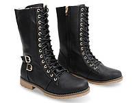 Женские ботинки яркие на шнурках зима