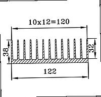 Радиаторный алюминиевый профиль для охлаждения электрооборудования. ОН-082 122х38 / б.п.