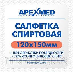 Салфетки спиртовые 120 мм. х 150 мм. Apexmed, 100 шт./упаковка, фото 2