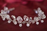 """Свадебный серебряный ободок, венок из горного хрусталя  """"Вечность"""""""