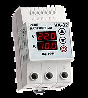 Реле напряжения с контролем тока VA-protector 32A DigiTOP