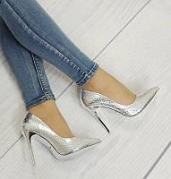 Стильные и удобные женские туфли, лодочки  со змеиным принтом серебристые  размер 35-37,39