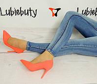 Стильные и удобные женские туфли, лодочки  яркого цвета , фото 1