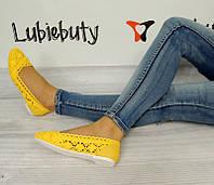 Летняя женская обувь,балетки, туфли летние желтого цвета  размеры 38 (маломерки)