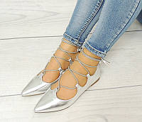 Летняя женская обувь,балетки, туфли,серебристого цвета