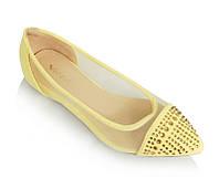 Летняя женская обувь,балетки, туфли на лето желтого цвета