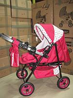 301 Кукольная коляска-трансформер 2в1 с переноской Adbor Mini Ring (малиновый, горошек цветной на белом), фото 1