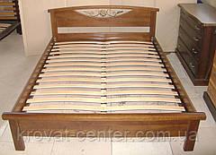 """Белая полуторная кровать """"Фантазия"""". Массив - сосна, ольха, береза, дуб., фото 3"""