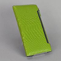 Зеленый женский кошелек натуральная лаковая кожа