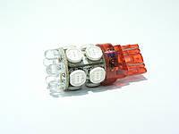 Одноконтактная безцокольная 7440 (Т20) (W21W)-10HP+6LED красная.