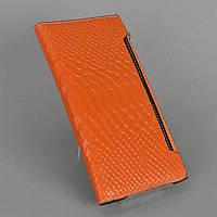 Оранжевый женский кошелек натуральная лаковая кожа