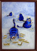"Картина на стекле ""зимняя рыбалка"""