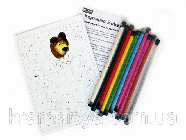 картина цветным песком Мишка