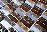 Мозаика из натурального мрамора и стекла коричневая с бежевым Vivacer L1161