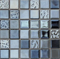 Мозаика металл со стеклом черная Vivacer MIX DI 01